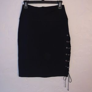 Black Pencil Skirt with tie accent